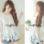 Lady Vintage White Rose blouse long-sleeve