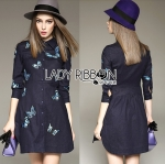 Lady Grace Sweet Feminine Butterfly Embroidered Denim Shirt Dress