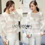 Lady Marie Laser-Cut Flared Sleeve Lace Blouse