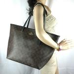 สินค้าพร้อมส่งจาก USA » กระเป๋า COACH F34105 Signature Taxi Extra Large Tote Handbag Bag Black Brown