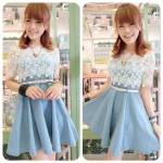 Lacey Denim Dress with Belt