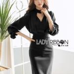 Lady Lily Minimal Elegant Cut-Out Plain Black Dress