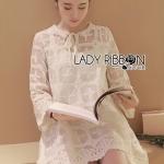 Lady Camilla Classic Feminine off- whiteLace Dress with Ribbon