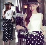 Lady Taylor Fashionable Cut-Out Cropped Top and Polka Dot Culotte (เสื้อขาว)