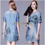 Lady Alison Elegant Artful Peacock Embroidered Dress (สีฟ้า)