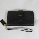 กระเป๋า COACH 66265 B4BK SAFFIANO PHONE CASE LEATHER WALLET WRISTLET สีดำ