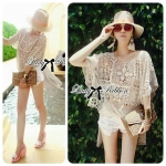 Lady Amanda See-Through Embroidered Knit Lace Blouse