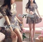 Lady Kylie Sweet Romantic Flowery Dress (สีม่วงพาสเทล)