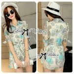 Lady Jessica Sweet Floral Printed Cotton Silk Shirt Dress in Blue