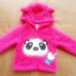 GSH-396 (6-12M,12-18M,18-24M,24-36M) เสื้อกันหนาวขนแกะ Mon Caramel สีชมพู ลายหมีแพนด้า ขนนุ่ม