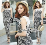 Lady Margaret Casual Chic Graphic Print Lace Jumpsuit