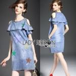 Lady Cora Playful Star Printed Cut-Out Denim Dress