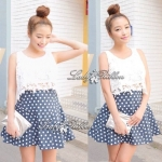 StyleNanda Set, Floral Lace Top with Polka dot skirt