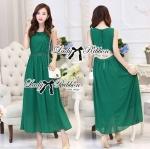 Lady Elsa Bead Embellished Emerald Maxi Dress with Back Slits
