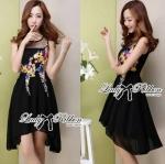 Lady Olivia Acid Hue Blossom Blooming Chiffon Dress (สีดำ)