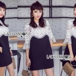 Lady Joelle Elegant Chic Black & White Solf-Portrait Lace Dress