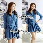 Lady Sarah Smart Casual Feminine Denim Shirt Dress