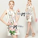 Lady Johanna Sakura Printed Ruffle Sleeved Shift Dress
