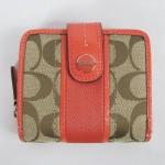 กระเป๋า COACH F48774 SVBHQ Signature Stripe Slim Medium Wallet Khaki/Bright Tearose