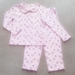 SLW-005 (3-4Y) ชุดนอนผ้ายืดสีม่วง ปกบัว ลายผีเสื้อ ดอกไม้ และดาว สีม่วง-ฟ้า-ขาว ถักริมตัวหนอนสีม่วง