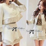 Lady Gisele Chic Brocade Jacket and Shorts Set (สีขาว)