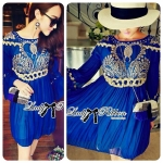 Lady Jacqueline Embroidered Chiffon Pleated Dress in Electric Blue