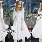 Lady Julie Classic White Laser-Cut and Embroidered Twisted Cotton Dress