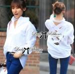 Lady Marina Sexy Back Crochet Shirt (สีขาว)