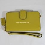 กระเป๋า COACH 66265 LISAF SAFFIANO PHONE CASE LEATHER WALLET WRISTLET สีเหลือง