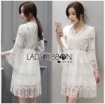 Lady Kate Modern Bohemian Fringed White Lace Dress