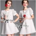 Lady Amanda Bead Embellished Laser-Cut Cotton Dress