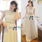 Lady Kate Goddess Diamond Embellished Belt White Chiffon Dress