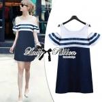 Lady Isla Glam Chic Navy Blue Striped Dress