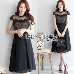 Lady Chiara Dramatic Chic High-Neck Lace and Cotton Midi Dress