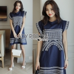 Lady Jane Easy Everyday Embroidered Dark Blue Cotton Dress