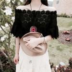 Partysu Huggable Lace Short Blouse (สีดำ)
