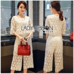 Lady Ariana Round n' Round Cotton Embroidered Top and Pants Set