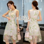 Lady Organza floral print skirt exocrine sweet dress