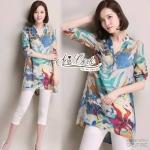 Korean wild loose cotton shirt printed graphics by Aris Code