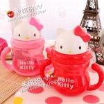 แก้วน้ำพร้อมหลอดนิ่ม kitty สีชมพู
