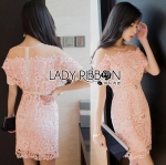 Lady Natalie Sweet Chic Pink Lace Mini Dress with Belt