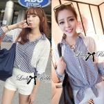Lady Pam Masculine Feminine Lace Cotton Striped Shirt