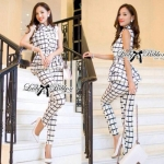 Lady Black&White Checkmate Trousers Set
