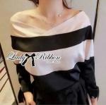 Lady Lady Zooey Off-Shoulder V-Neck Bold Striped Blouse