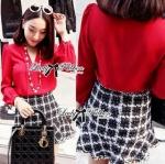 Lady Stela Sweet V-Neck Poplin Shirt (สีแดง)