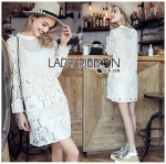 Lady Katie Sweet Classic White Lace with Pleated Cotton Dress