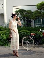 God is Girl ++สินค้าพร้อมส่งค่ะ++ ชุดเดรสเกาหลี ยาว แขนกุด ผ้าลูกไม้ทั้งตัว หวานมากๆ – สีขาว