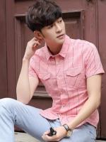 เสื้อเชิ้ตแขนสั้นเกาหลี ลายตาราง แต่งกระเป๋าเสื้อ2ข้าง มี3สี