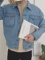 เสื้อแจ็คเก็ตยีนส์ญี่ปุ่น สีน้ำเงิน แนวย้อนยุค แต่งกระเป๋าเสื้อ2ข้าง