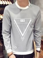 เสื้อยืดแขนยาวเกาหลี ดีไซน์รูปสามเหลี่ยม แต่งขอบ มี5สี